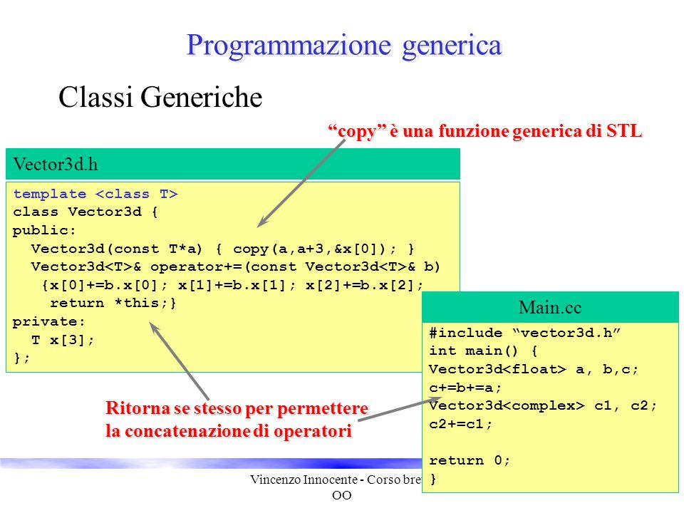 Vincenzo Innocente - Corso breve OO 30 Programmazione generica Classi Generiche template class Vector3d { public: Vector3d(const T*a) { copy(a,a+3,&x[