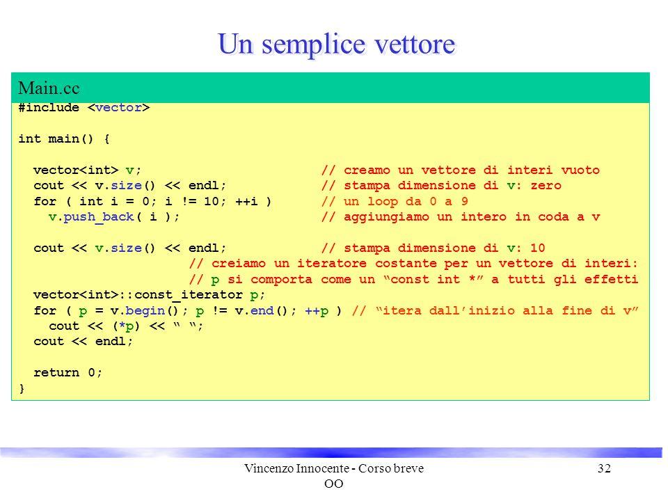 Vincenzo Innocente - Corso breve OO 32 Un semplice vettore #include int main() { vector v; // creamo un vettore di interi vuoto cout << v.size() << en