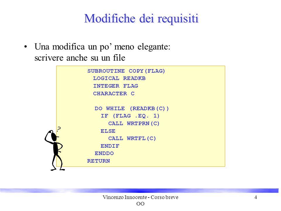 Vincenzo Innocente - Corso breve OO 4 Modifiche dei requisiti Una modifica un po' meno elegante: scrivere anche su un file SUBROUTINE COPY(FLAG) LOGIC