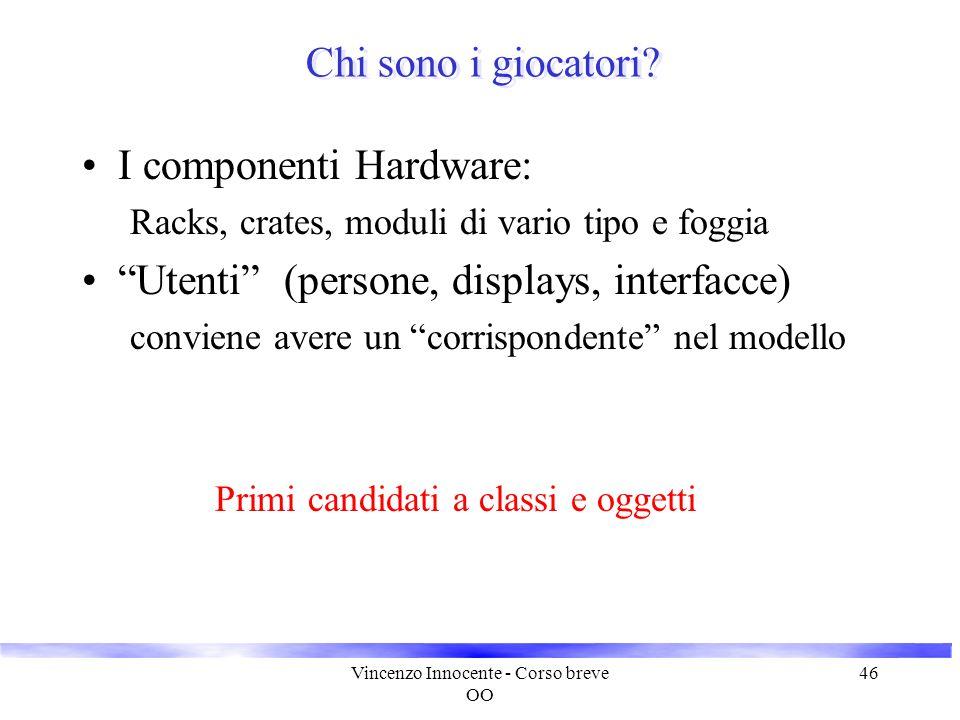 """Vincenzo Innocente - Corso breve OO 46 Chi sono i giocatori? I componenti Hardware: Racks, crates, moduli di vario tipo e foggia """"Utenti"""" (persone, di"""