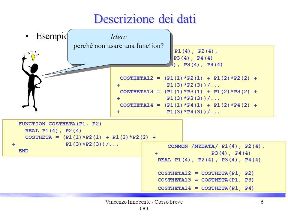 Vincenzo Innocente - Corso breve OO 6 Descrizione dei dati Esempio: cinematica relativistica COMMON /MYDATA/ P1(4), P2(4), + P3(4), P4(4) REAL P1(4),