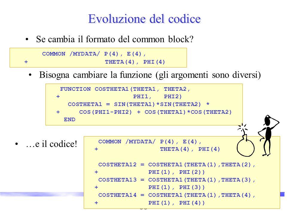 Vincenzo Innocente - Corso breve OO 7 COMMON /MYDATA/ P1(4), P2(4), + P3(4), P4(4) Evoluzione del codice Se cambia il formato del common block? COMMON