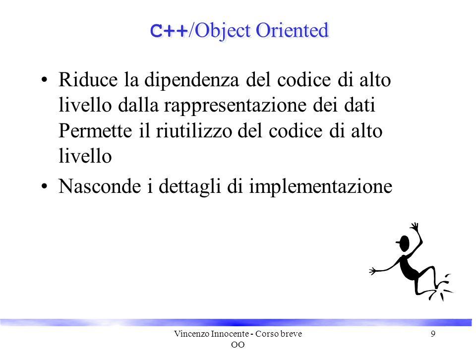 Vincenzo Innocente - Corso breve OO 9 C++ /Object Oriented Riduce la dipendenza del codice di alto livello dalla rappresentazione dei dati Permette il