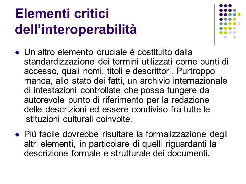 Elementi critici dell'interoperabilità Un altro elemento cruciale è costituito dalla standardizzazione dei termini utilizzati come punti di accesso, q