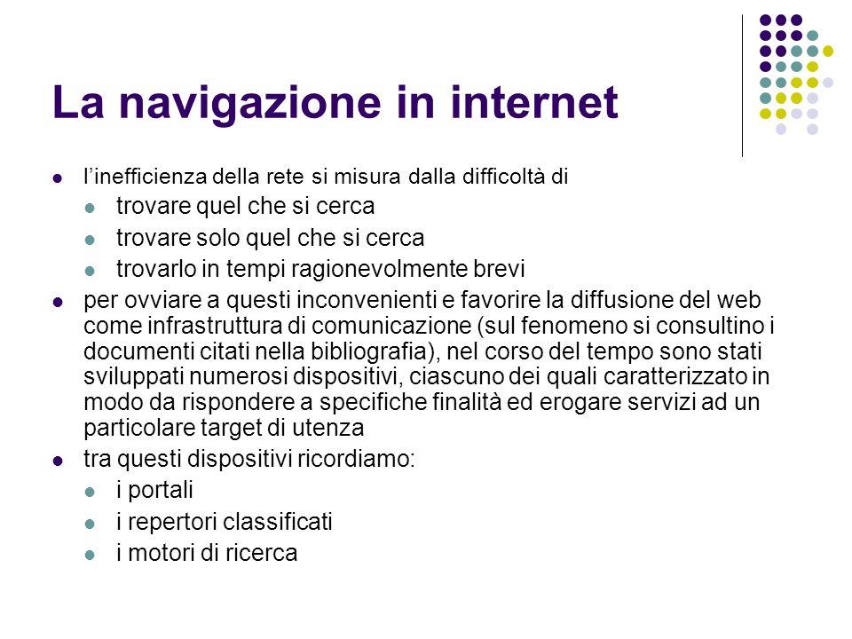 La navigazione in internet l'inefficienza della rete si misura dalla difficoltà di trovare quel che si cerca trovare solo quel che si cerca trovarlo i