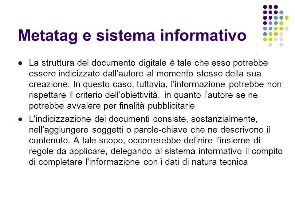 Metatag e sistema informativo La struttura del documento digitale è tale che esso potrebbe essere indicizzato dall'autore al momento stesso della sua