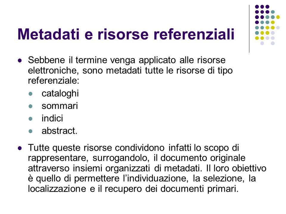 Metadati e risorse referenziali Sebbene il termine venga applicato alle risorse elettroniche, sono metadati tutte le risorse di tipo referenziale: cat