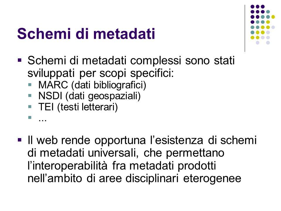 Schemi di metadati  Schemi di metadati complessi sono stati sviluppati per scopi specifici:  MARC (dati bibliografici)  NSDI (dati geospaziali)  T