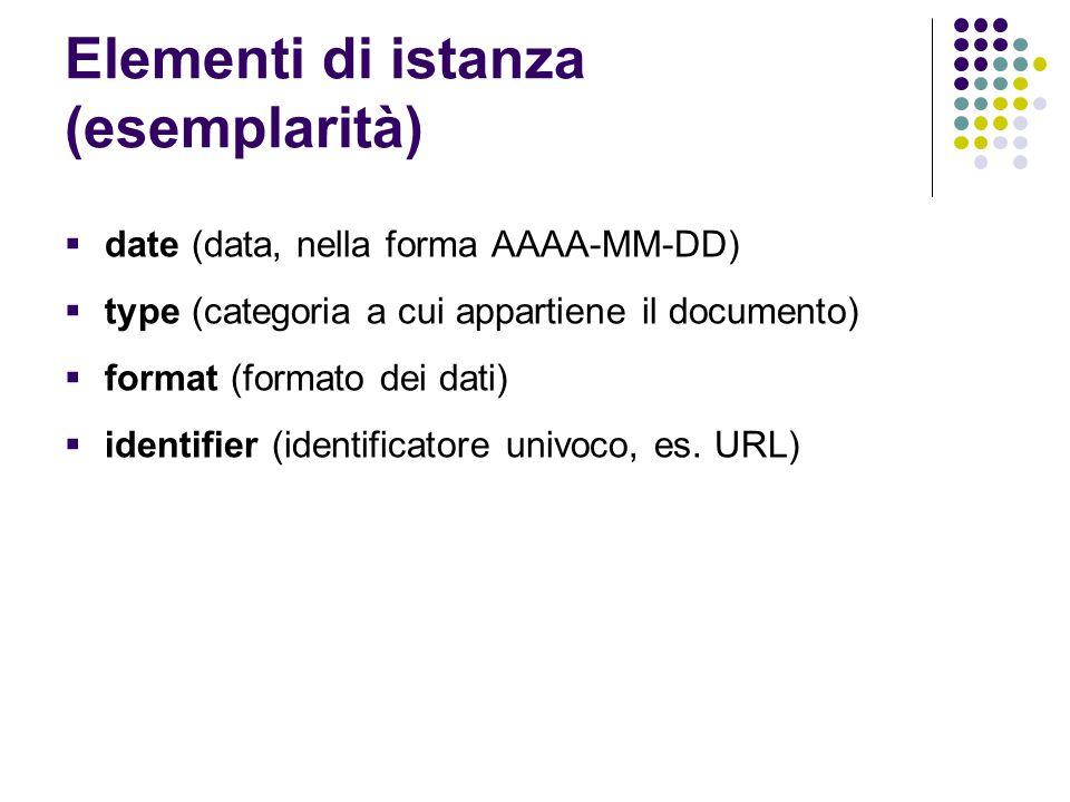 Elementi di istanza (esemplarità)  date (data, nella forma AAAA-MM-DD)  type (categoria a cui appartiene il documento)  format (formato dei dati) 
