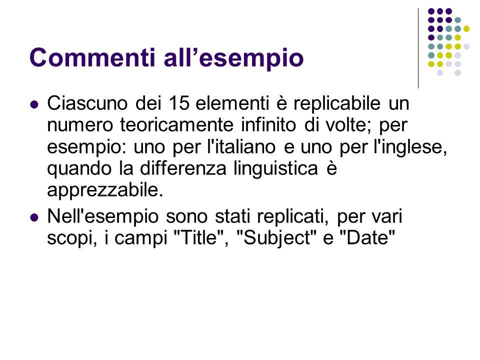 Commenti all'esempio Ciascuno dei 15 elementi è replicabile un numero teoricamente infinito di volte; per esempio: uno per l'italiano e uno per l'ingl