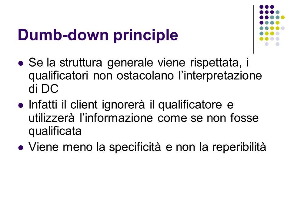 Dumb-down principle Se la struttura generale viene rispettata, i qualificatori non ostacolano l'interpretazione di DC Infatti il client ignorerà il qu