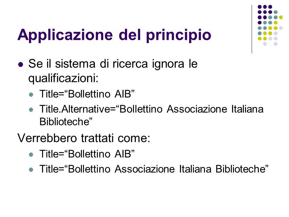 """Applicazione del principio Se il sistema di ricerca ignora le qualificazioni: Title=""""Bollettino AIB"""" Title.Alternative=""""Bollettino Associazione Italia"""