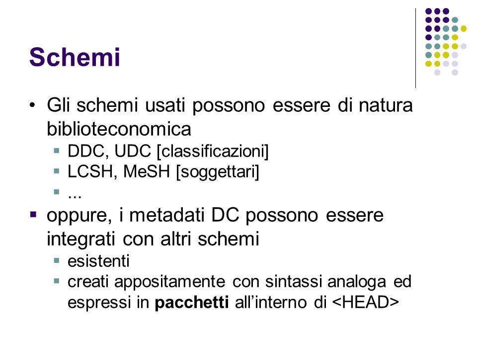 Schemi Gli schemi usati possono essere di natura biblioteconomica  DDC, UDC [classificazioni]  LCSH, MeSH [soggettari] ...  oppure, i metadati DC