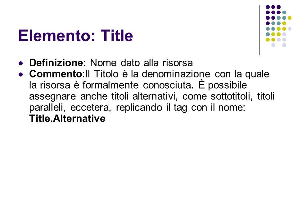 Elemento: Title Definizione: Nome dato alla risorsa Commento:Il Titolo è la denominazione con la quale la risorsa è formalmente conosciuta. È possibil