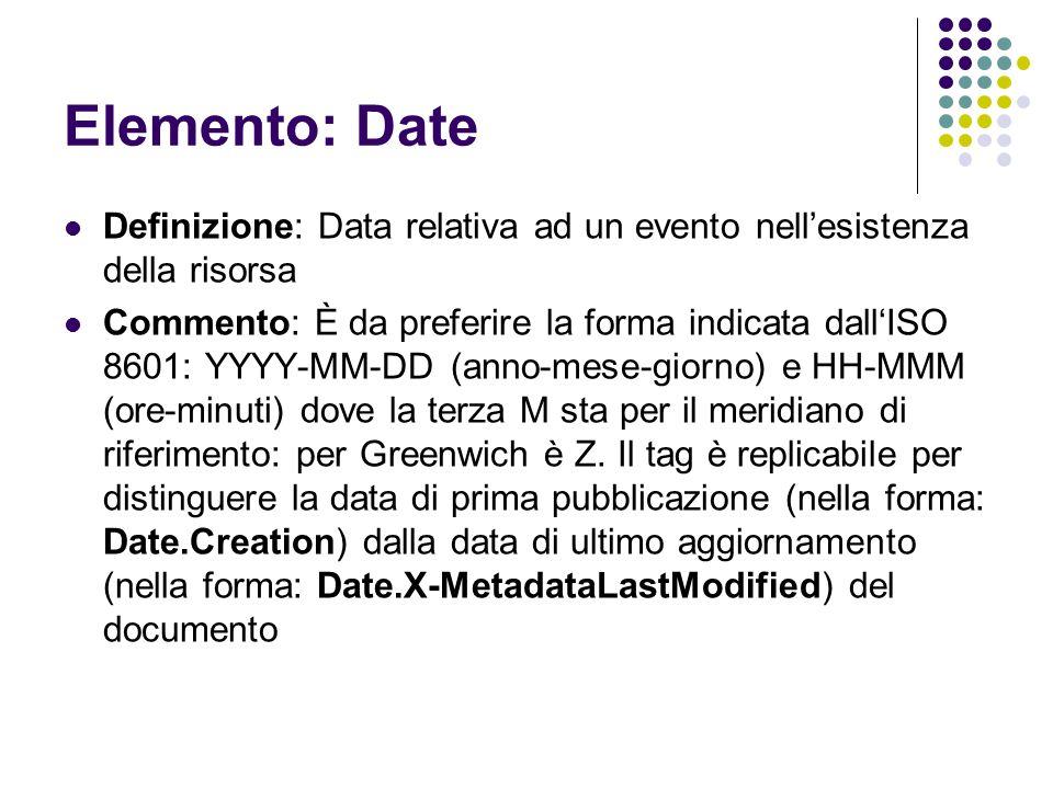 Elemento: Date Definizione: Data relativa ad un evento nell'esistenza della risorsa Commento: È da preferire la forma indicata dall'ISO 8601: YYYY-MM-