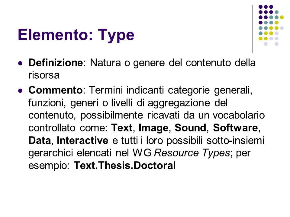 Elemento: Type Definizione: Natura o genere del contenuto della risorsa Commento: Termini indicanti categorie generali, funzioni, generi o livelli di