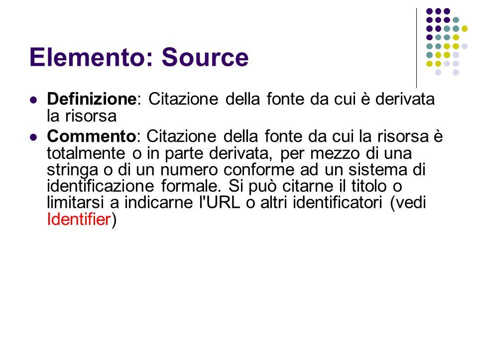 Elemento: Source Definizione: Citazione della fonte da cui è derivata la risorsa Commento: Citazione della fonte da cui la risorsa è totalmente o in p