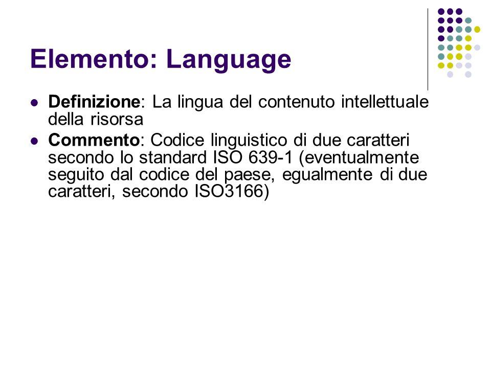 Elemento: Language Definizione: La lingua del contenuto intellettuale della risorsa Commento: Codice linguistico di due caratteri secondo lo standard