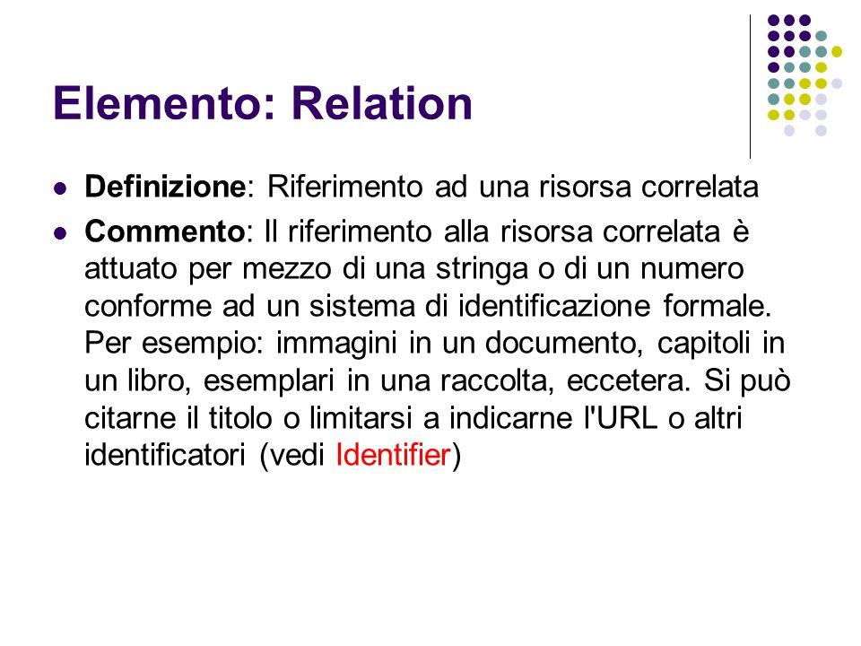 Elemento: Relation Definizione: Riferimento ad una risorsa correlata Commento: Il riferimento alla risorsa correlata è attuato per mezzo di una string
