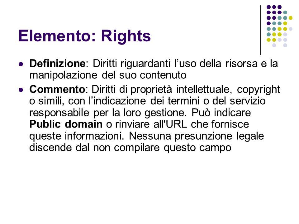 Elemento: Rights Definizione: Diritti riguardanti l'uso della risorsa e la manipolazione del suo contenuto Commento: Diritti di proprietà intellettual