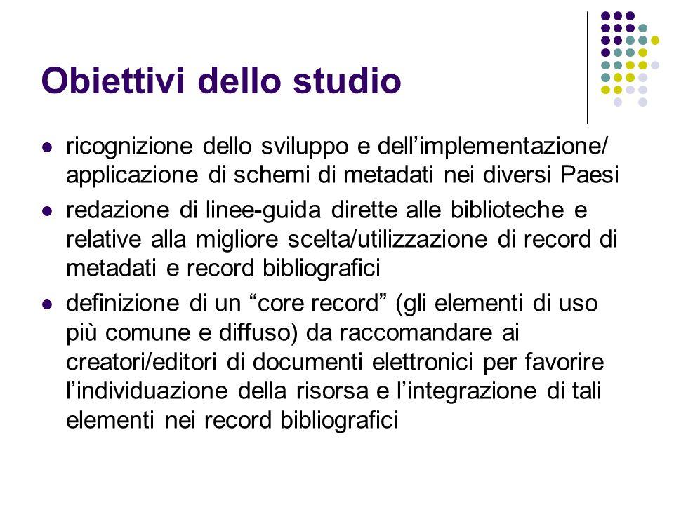 Obiettivi dello studio ricognizione dello sviluppo e dell'implementazione/ applicazione di schemi di metadati nei diversi Paesi redazione di linee-gui