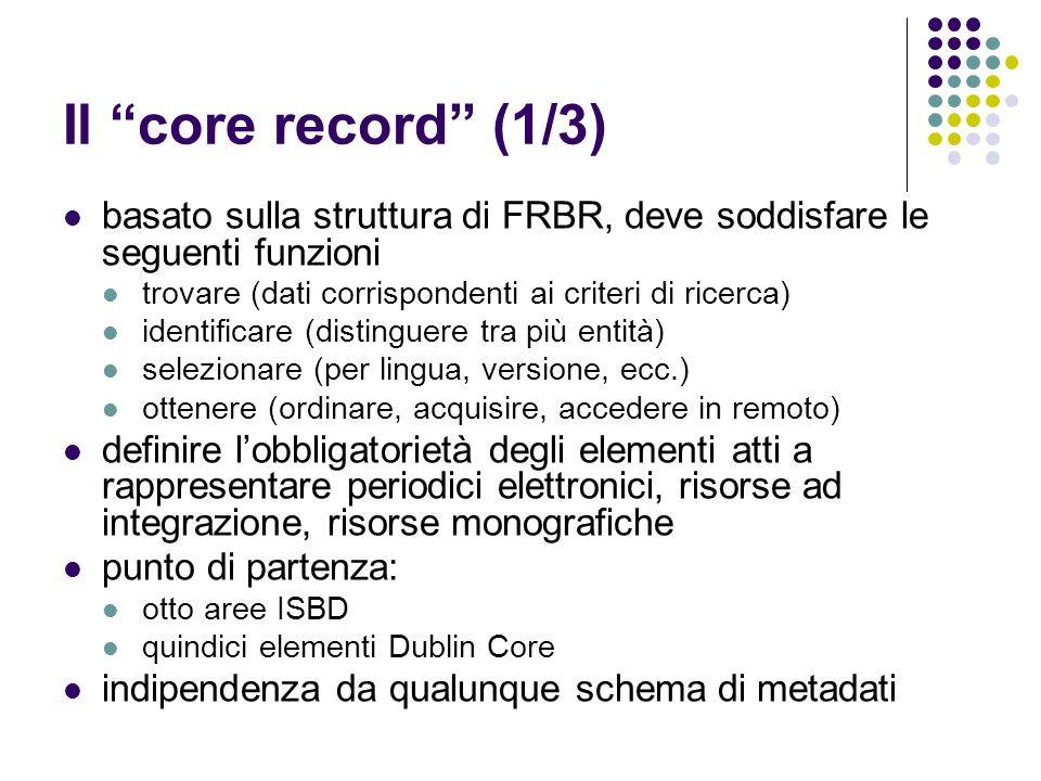 """Il """"core record"""" (1/3) basato sulla struttura di FRBR, deve soddisfare le seguenti funzioni trovare (dati corrispondenti ai criteri di ricerca) identi"""