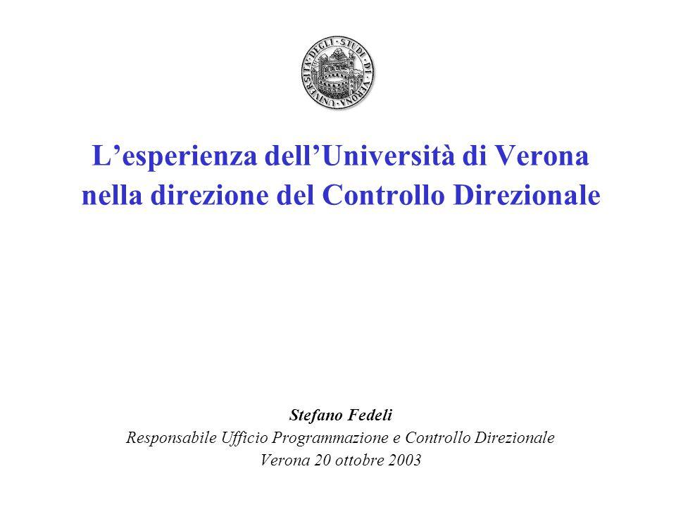 L'esperienza dell'Università di Verona nella direzione del Controllo Direzionale Stefano Fedeli Responsabile Ufficio Programmazione e Controllo Direzionale Verona 20 ottobre 2003