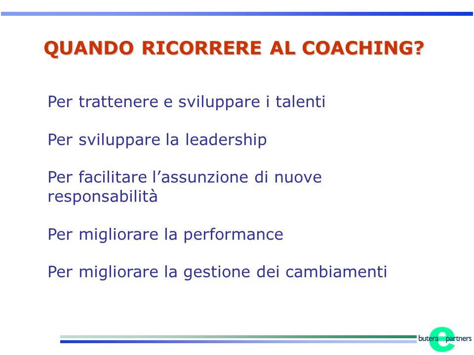 QUANDO RICORRERE AL COACHING? Per trattenere e sviluppare i talenti Per sviluppare la leadership Per facilitare l'assunzione di nuove responsabilità P