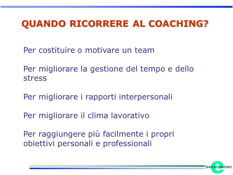 QUANDO RICORRERE AL COACHING? Per costituire o motivare un team Per migliorare la gestione del tempo e dello stress Per migliorare i rapporti interper