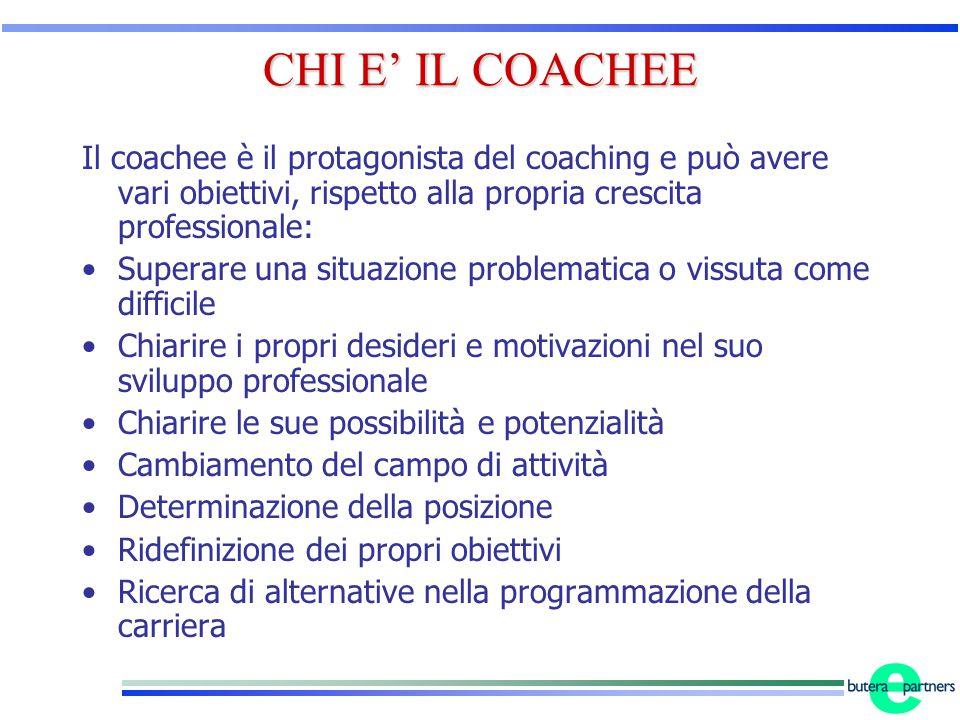 CHI E' IL COACHEE Il coachee è il protagonista del coaching e può avere vari obiettivi, rispetto alla propria crescita professionale: Superare una sit