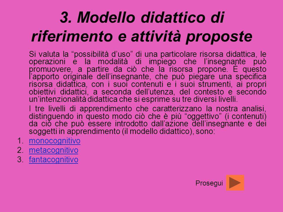 """3. Modello didattico di riferimento e attività proposte Si valuta la """"possibilità d'uso"""" di una particolare risorsa didattica, le operazioni e la moda"""