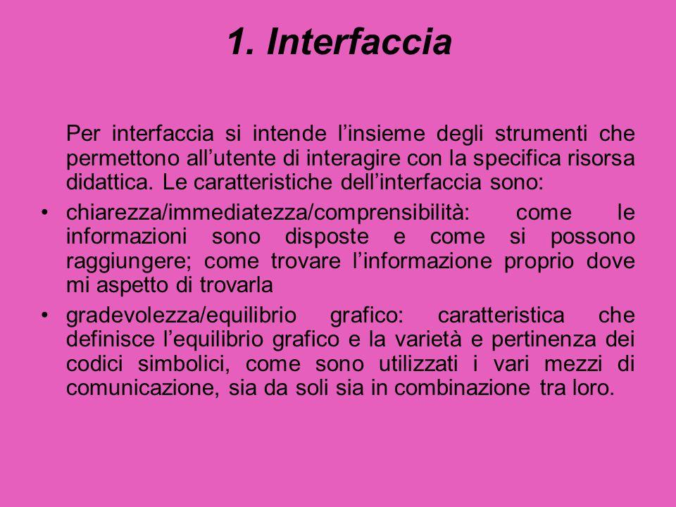 1. Interfaccia Per interfaccia si intende l'insieme degli strumenti che permettono all'utente di interagire con la specifica risorsa didattica. Le car