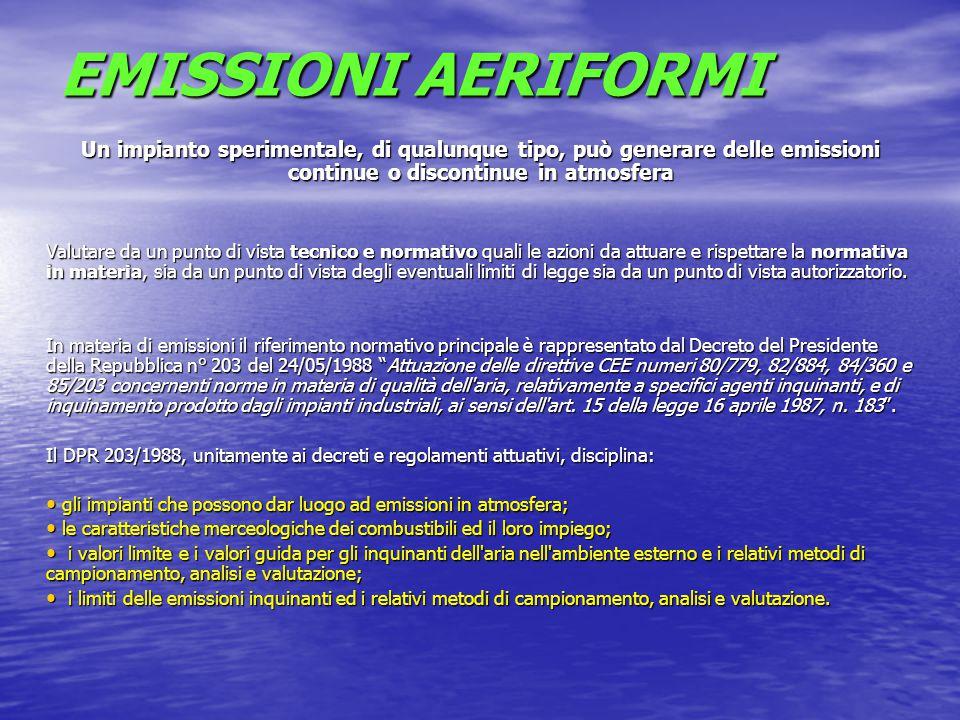 Il DPR 203/88 prevede un obbligo di autorizzazione per gli impianti ed il rispetto dei valori limite per le cosiddette emissioni In senso comune per impianto si intende In senso comune per impianto si intende un macchinario che viene installato e che nella funzione genera emissioni in atmosfera.
