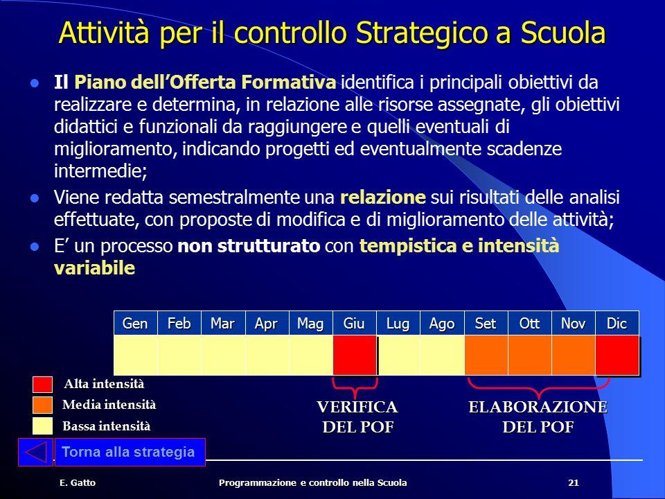 21E. GattoProgrammazione e controllo nella Scuola Attività per il controllo Strategico a Scuola Il Piano dell'Offerta Formativa identifica i principal