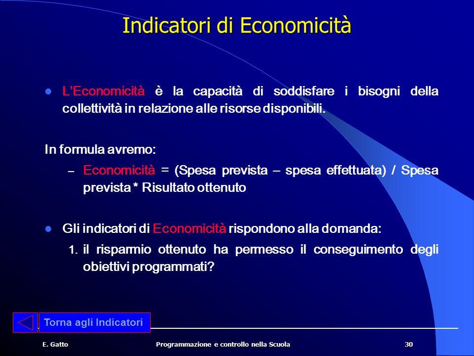 30E. GattoProgrammazione e controllo nella Scuola L'Economicità è la capacità di soddisfare i bisogni della collettività in relazione alle risorse dis