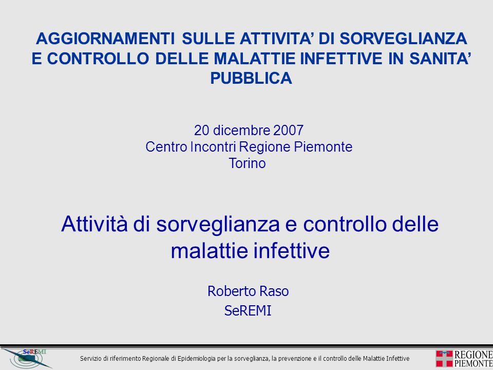 Servizio di riferimento Regionale di Epidemiologia per la sorveglianza, la prevenzione e il controllo delle Malattie Infettive Attività di sorveglianz