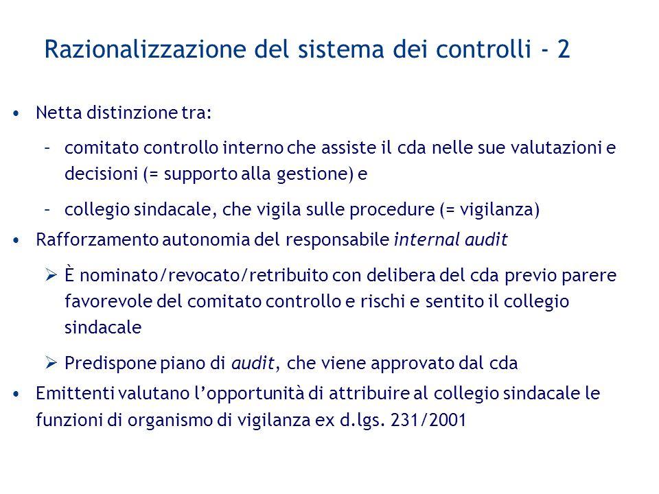 Razionalizzazione del sistema dei controlli - 2 Netta distinzione tra: –comitato controllo interno che assiste il cda nelle sue valutazioni e decision