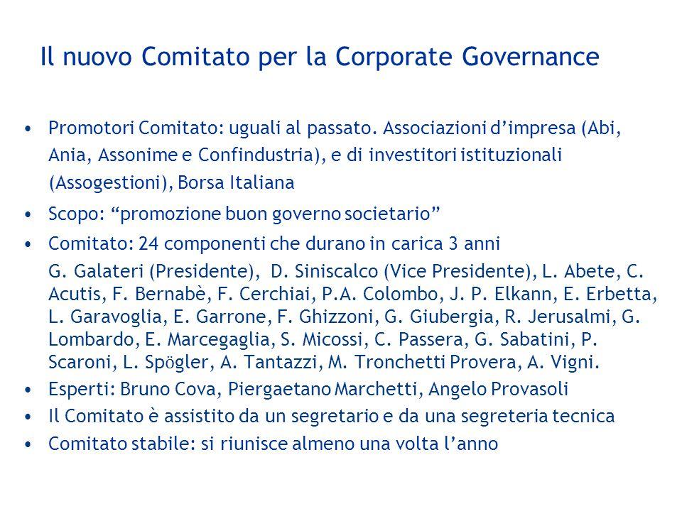 Il nuovo Comitato per la Corporate Governance Promotori Comitato: uguali al passato. Associazioni d'impresa (Abi, Ania, Assonime e Confindustria), e d