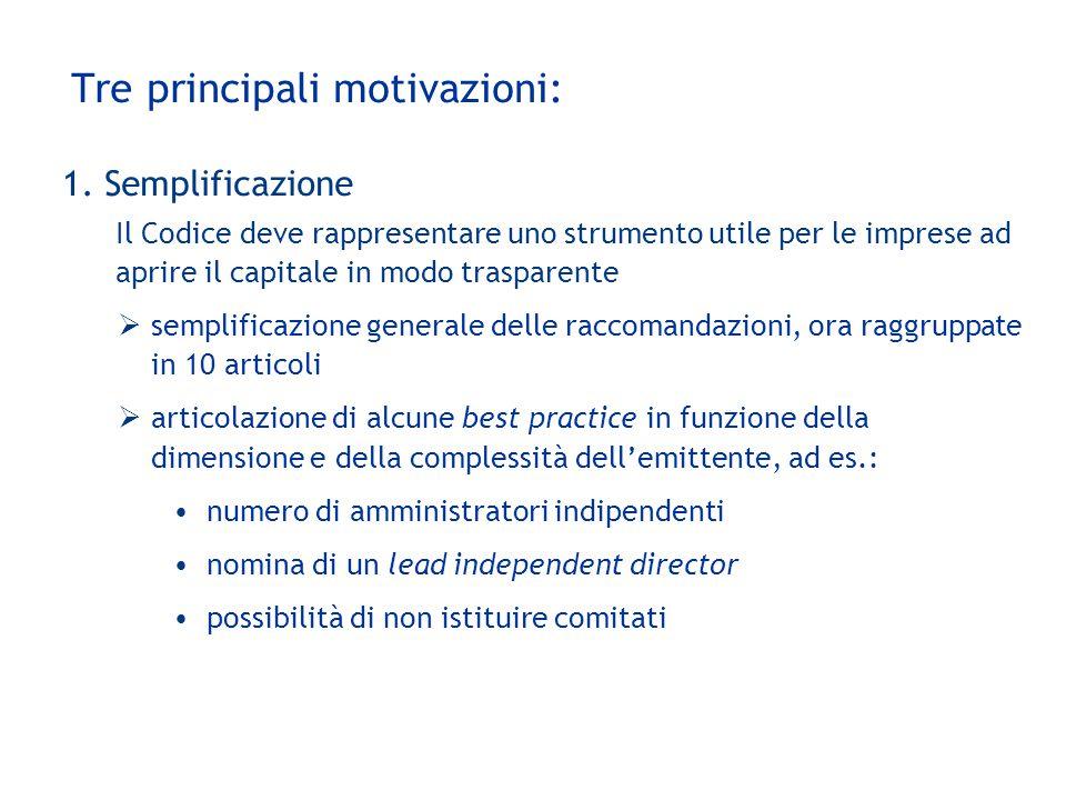 Tre principali motivazioni: 1. Semplificazione Il Codice deve rappresentare uno strumento utile per le imprese ad aprire il capitale in modo trasparen