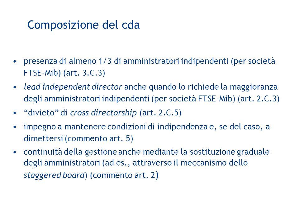 Composizione del cda presenza di almeno 1/3 di amministratori indipendenti (per società FTSE-Mib) (art.