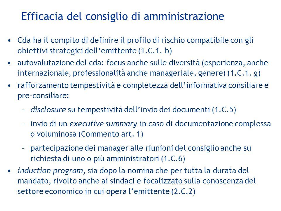 Efficacia del consiglio di amministrazione Cda ha il compito di definire il profilo di rischio compatibile con gli obiettivi strategici dell'emittente (1.C.1.