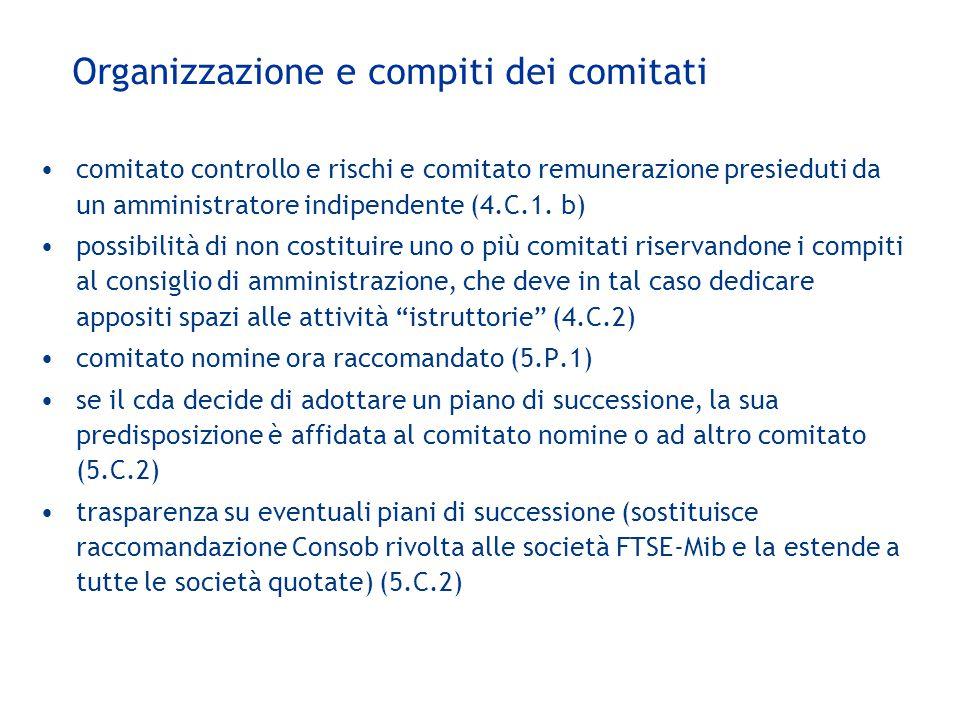 Organizzazione e compiti dei comitati comitato controllo e rischi e comitato remunerazione presieduti da un amministratore indipendente (4.C.1. b) pos