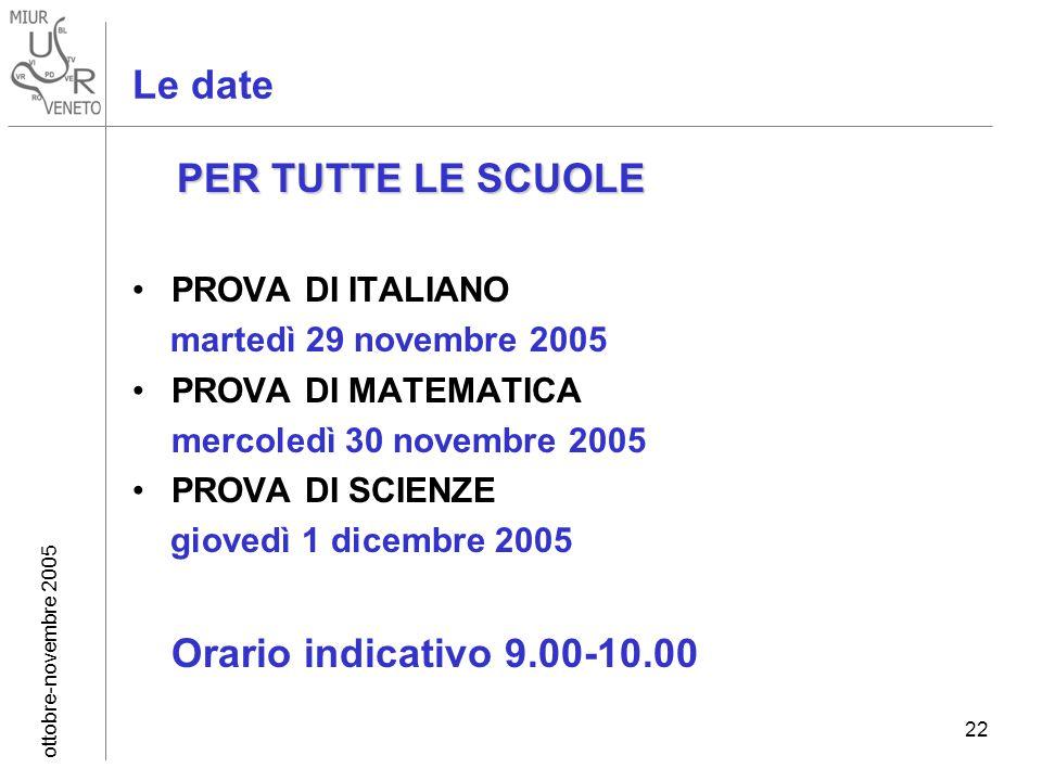 ottobre-novembre 2005 22 Le date PER TUTTE LE SCUOLE PROVA DI ITALIANO martedì 29 novembre 2005 PROVA DI MATEMATICA mercoledì 30 novembre 2005 PROVA DI SCIENZE giovedì 1 dicembre 2005 Orario indicativo 9.00-10.00