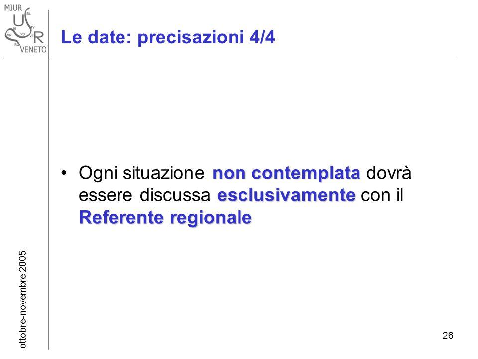 ottobre-novembre 2005 26 non contemplata esclusivamente Referente regionaleOgni situazione non contemplata dovrà essere discussa esclusivamente con il Referente regionale Le date: precisazioni 4/4