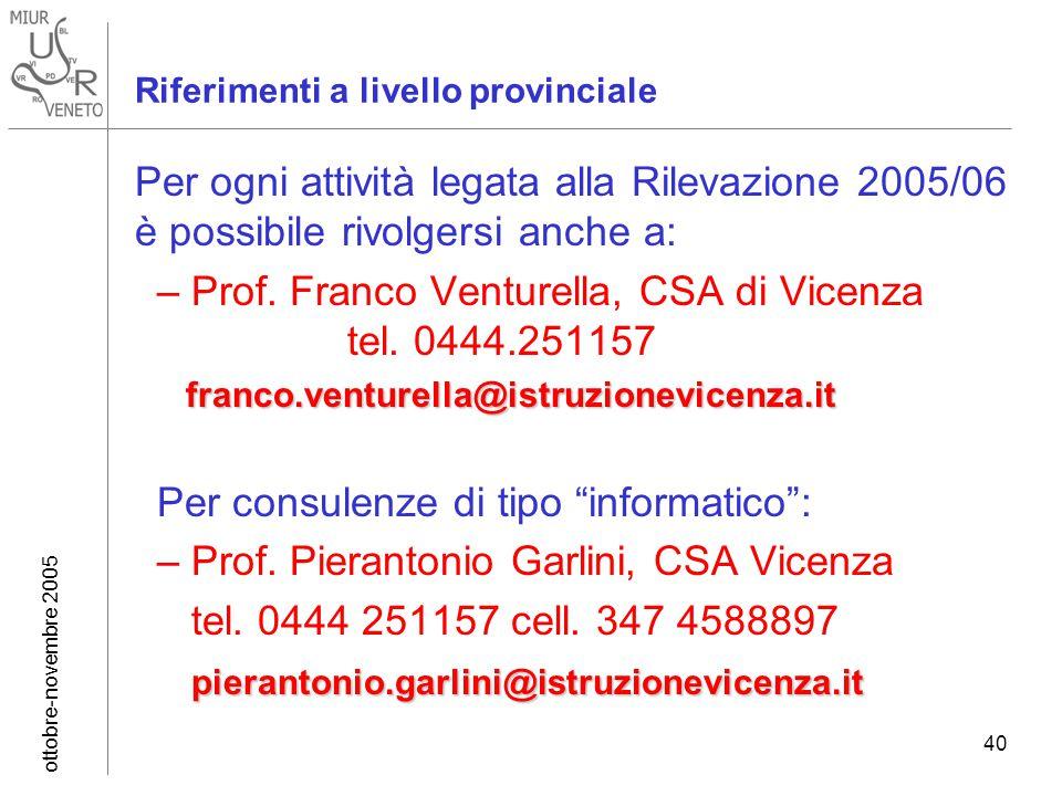 ottobre-novembre 2005 40 Riferimenti a livello provinciale Per ogni attività legata alla Rilevazione 2005/06 è possibile rivolgersi anche a: –Prof.