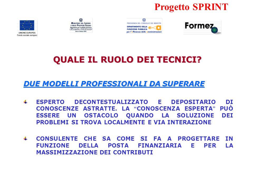 Progetto SPRINT DUE MODELLI PROFESSIONALI DA SUPERARE ESPERTO DECONTESTUALIZZATO E DEPOSITARIO DI CONOSCENZE ASTRATTE.