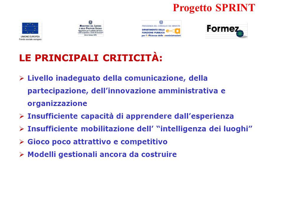 Progetto SPRINT I PIT HANNO DIMOSTRATO DI ESSERE RELATIVAMENTE EFFICIENTI E EFFICACI NELLA FASE DI PROGRAMMAZIONE E PROGETTAZIONE