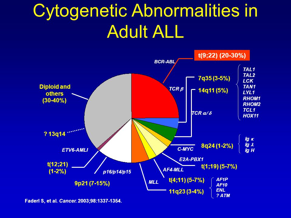 Cytogenetic Abnormalities in Adult ALL t(9;22) (20-30%) Diploid and others (30-40%) 7q35 (3-5%) 14q11 (5%) 8q24 (1-2%) t(1;19) (5-7%) t(4;11) (5-7%) 11q23 (3-4%) 9p21 (7-15%) t(12;21) (1-2%) BCR-ABL TCR  TCR  C-MYC E2A-PBX1 AF4-MLL ETV6-AMLI MLL p16/p14/p15 TAL1 TAL2 LCK TAN1 LYL1 RHOM1 RHOM2 TCL1 HOX11 Ig  Ig Ig H AF1P AF10 ENL .