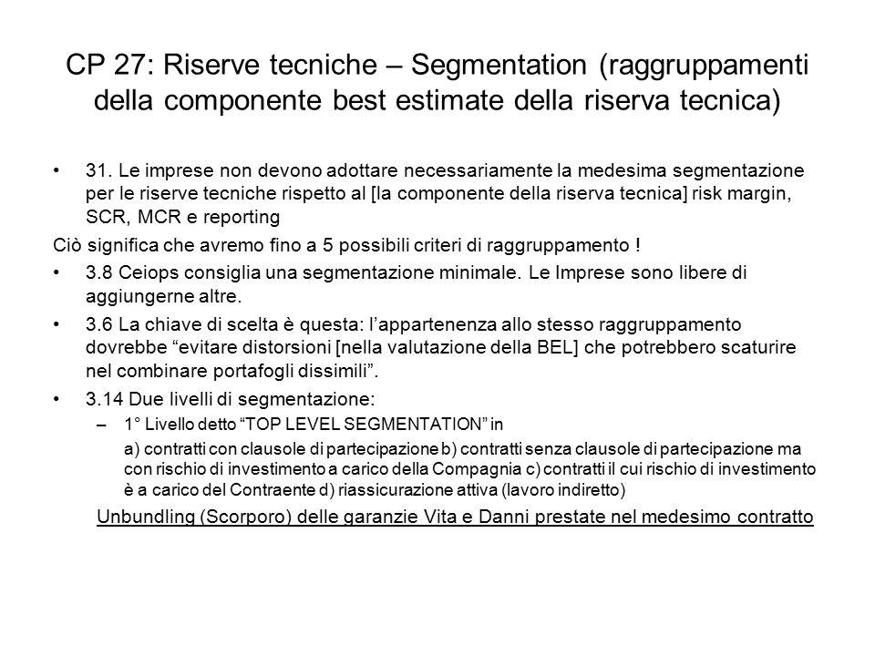 CP 27: Riserve tecniche – Segmentation (raggruppamenti della componente best estimate della riserva tecnica) 31. Le imprese non devono adottare necess
