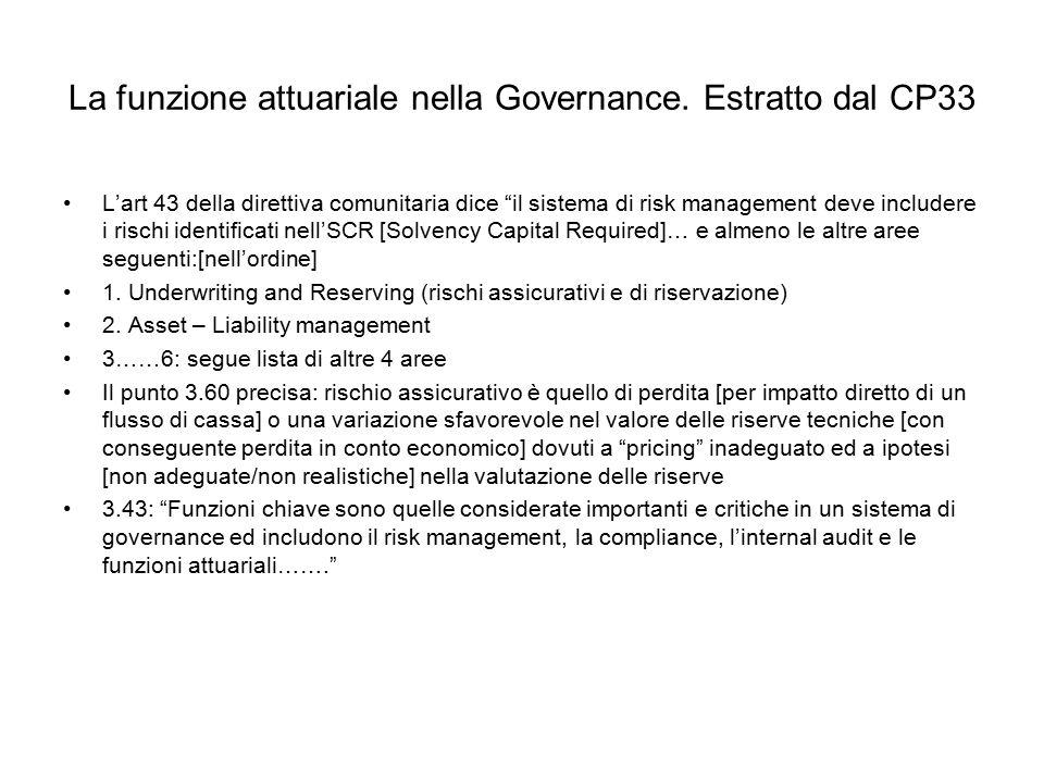 """La funzione attuariale nella Governance. Estratto dal CP33 L'art 43 della direttiva comunitaria dice """"il sistema di risk management deve includere i r"""